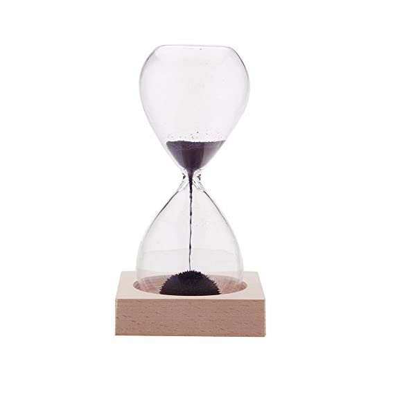 "AOMAG Hand-Blown Timer Magnet Hourglass/Magnetic Hourglass Sand Timer Clock Glass Classic Home Desk Decor - Materials:glass,magnetic,and iron filings Dimensions (hourglass):5.7"" high x 2.3"" diameter;Dimensions (base):3"" x 3"" x 0.7"" Sand is replaced with magnetic iron filings that form interesting, artistic patterns - clocks, bedroom-decor, bedroom - 31aen1o0h6L. SS570  -"