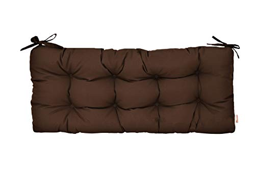 RSH Décor Sunbrella Canvas Bay Brown Indoor/Outdoor Tufted Cushion with Ties for Bench, Swing, Glider - Choose Size (38
