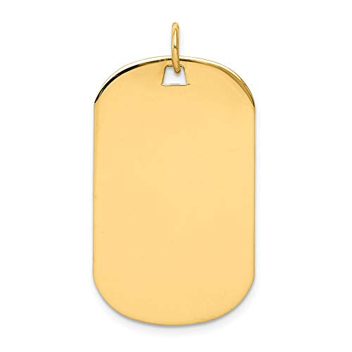 - FB Jewels Solid 14K Yellow Gold Plain .018 Gauge Engraveable Dog Tag Disc Charm