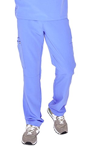 FIGS Axim Cargo Scrub Pants for Men - Structured Fit, Super Soft Stretch, Anti-Wrinkle Medical Scrub Pants, Ceil Blue 2XL
