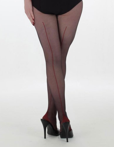 病者病的セッティングWhat Katie Did Black/Red 15 Denier Retro Contrast Seam Tights H2009