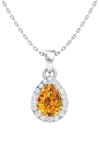 - Diamondere Natural and Certified Pear Citrine and Diamond Halo Drop Petite Necklace in 14k White Gold | 0.33 Carat Pendant with Chain