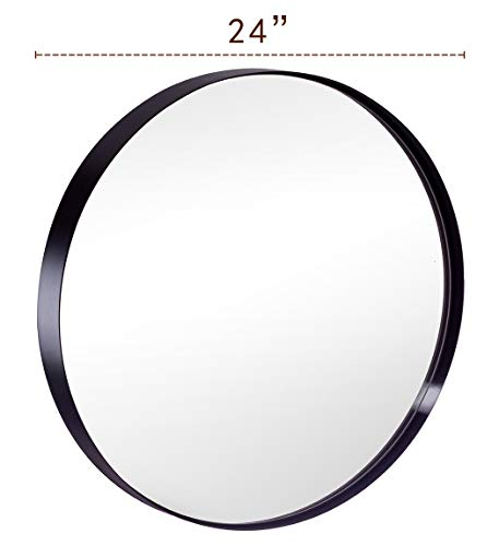 Round Bathroom Mirror for Wall, 24 Inch Black Circle Mirror with Modern -
