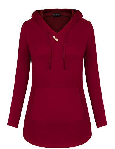 Tunic Sweatshirt Women Long Sleeve Pullover Solid Kangaroo Pocket Top Hoodie Sweater T-Shirt Layered Funny Lightweight Fashion Fitted Vintage Loose Juniors Sweatshirts Red Size ()