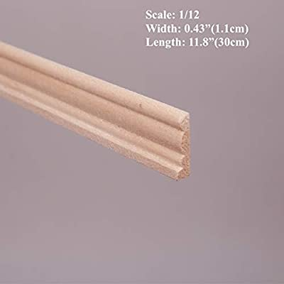 DIY 1/12 Scale Dollhouse Miniatures Window Door Wood Finishing Trim ; L 30cm, W 1.1cm10 Pieces: Toys & Games