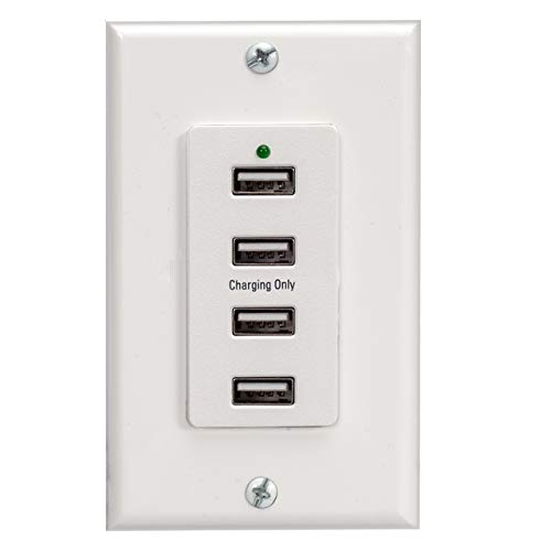 Magnadyne WC-USB-W White Wall Mount 4 USB Charging Ports (White Wall Plate included)