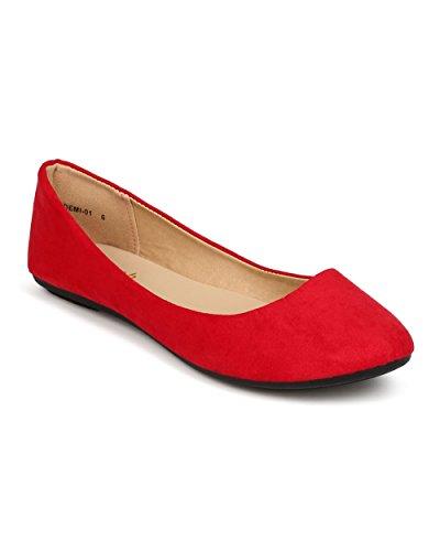Refresh ED23 Women Suede Round Toe Slip on Ballet Flat - Red