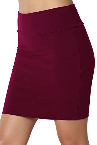 TheMogan Junior's Stretch Cotton Jersey Lined Bodycon Tube Mini Skirt Burgundy XL -