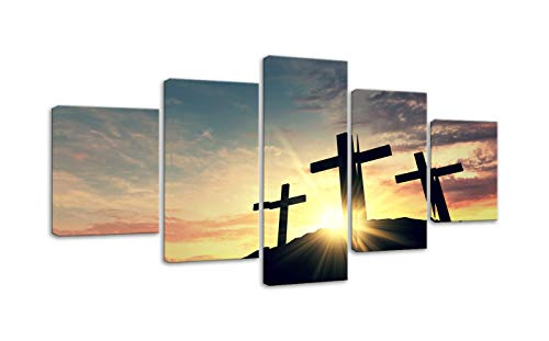 (Christian Cross Wall Art Canvas Painting Print Poster 5 Panel Religious Cross Silhouette Against A Bight Sunrise Sky Background Painting Christian Wall Decoration for Living Room Framed Ready to Hang)