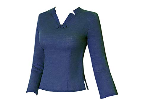 Top Acvip Veste Rétro Coton Chanvre Bleu Marine Blouse Longue Femme Manche Tang En De Col V Avec rqwrCPOE