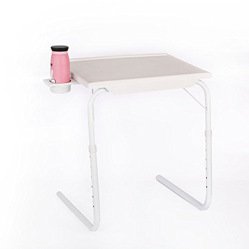 Set of 2 Folding TV Tray Table With Cup Holder - Height Adjustable Side Table Ladtop Desk (Whit) by Apelila