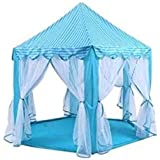 Large Indoor and Outdoor Kids Play House Blue Hexagon Princess Castle Kids Play Tent Child Play Tent