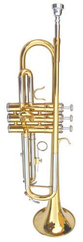 New GOLD/SILVER Concert Band Trumpet w/Case.Approved+Warranty by Hawk