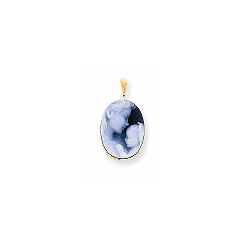 14k Yellow Gold Heavens Gift Agate Cameo Pendant (Agate Gift 14k Heavens)