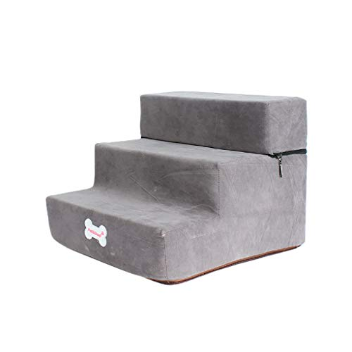 Non-Slip Bottom Pet Bed Cat Dog Ramp 3 Steps, Removable Washable Carpet Tread Pet Stairs Cover_Conwinart_Gray