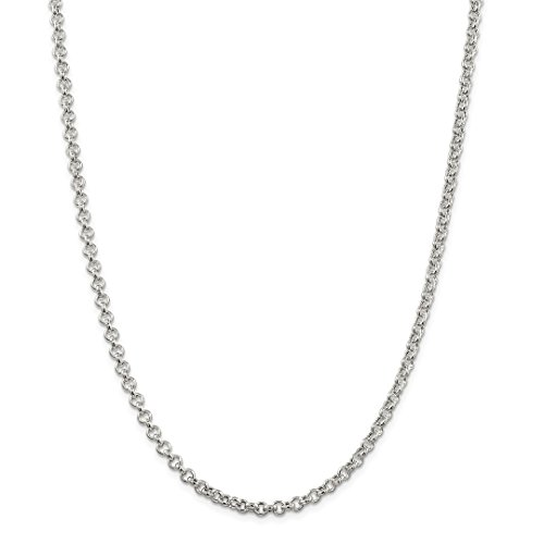 925 Sterling Silver 4.25mm Rolo Chain Necklace 24 Inch Pendant Charm Fine Jewelry Gifts For Women For Her