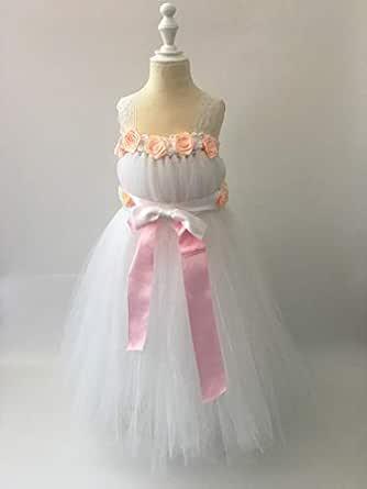 Cuts & Fits White Ribbon Flower Tutu Dress