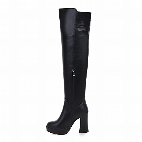 Charm Foot Womens Chunky High Heel Zipper Over The Knee Boots Black BLZ1jH
