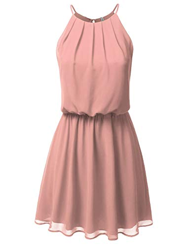 JJ Perfection Women's Sleeveless Double-Layered Pleated Mini Chiffon Dress Lightmauve M ()