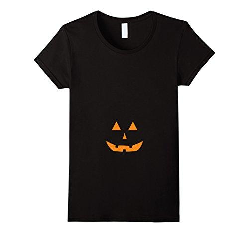 Women's Jack O' Lantern Pumpkin Halloween Pregnancy T-Shirt Funny Large (Jack Maternity T-shirt)