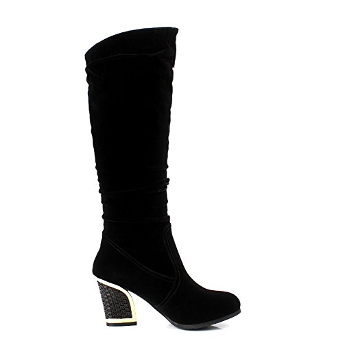 On DecoStain Black Women's Knee High Bootie Slip BqEqO