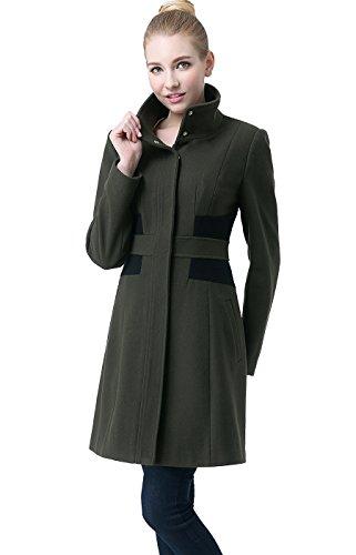 "BGSD Women's ""Prim"" Missy & Plus Size Colorblock Wool Blend Over Coat- Loden XL"