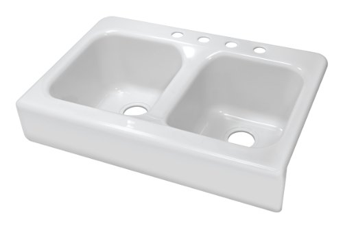 Lyons Industries DKS01AP-3.5 Designer White Apron Front Dual Bowl Acrylic 10-Inch Deep Kitchen Sink by Lyons Industries