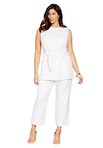Jessica London Women's Plus Size Linen Blend Capri Set (Plus Size Capri Suits)