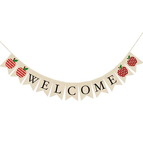 Welcome Apple - AVOIN Welcome Burlap Banner Chevron Polka Dot Apple, Rustic Pennant Decoration for Back to School First Day of School Teacher Appreciation Party Supplies Classroom Decor - No DIY Required