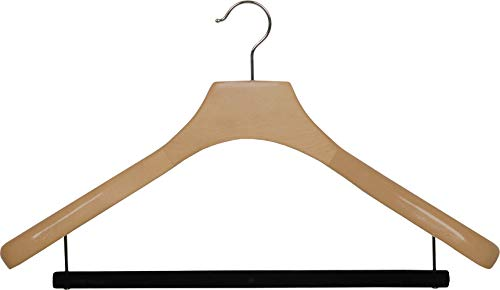 Deluxe Wooden Suit Hanger with Velvet Bar, Natural Finish & Chrome Swivel Hook, Large 2 Inch Wide Contoured Coat & Jacket Hangers (Set of 24) by The Great American Hanger Company by The Great American Hanger Company (Image #4)