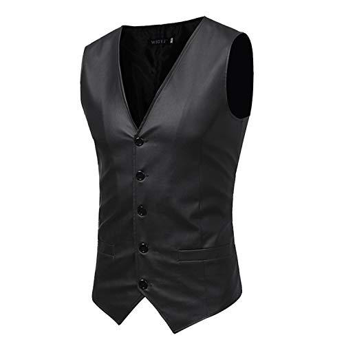 Black Homme Manches Fit Slim Formel Casual Mens En D'affaires Costume Pu Gilets Cuir Sans Gilet Veste Hommes Pour rrBqT4x