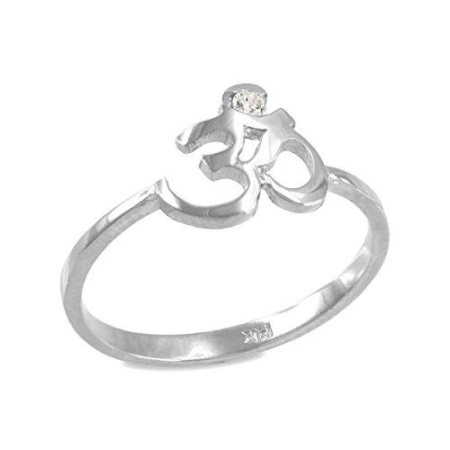 Dainty 10k White Gold Yoga Meditation Band Diamond Om Ring
