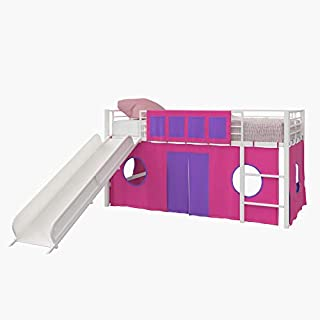 DHP Star Loft Bed, Pink & Purple Kid's Curtain Set, Pink