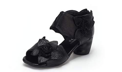 Genuine Leather Women Sandals Handmade Flower Platform Wedges Slingback Cowhide High Heel Shoes Black
