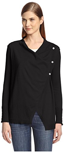 Cullen Women's Asymmetric Button Draped Neck Sweater, Black, S Cullen Cotton Sweater