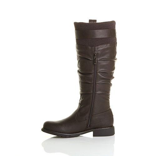 Ajvani Womens Ladies Low Heel Zip Buckle Slouch Knee Calf Knitted Cuff Biker Boots Size Brown KceLn