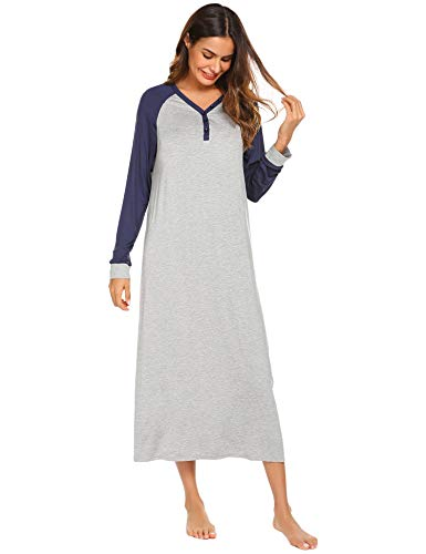 Ekouaer Nightgown Women's Long Sleeve Long Sleep Shirt V Neck Night Dress Sleepwear Loungewear(Navy Blue,M) - Long Sleeve Womens Nightgown