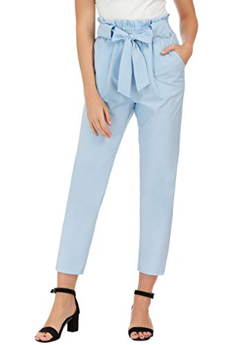 GRACE KARIN Women's Pants Trouser Slim Casual Cropped Paper Bag Waist Pants with Pockets (XX-Large, Light Blue)