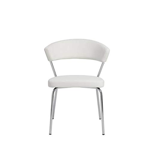 Curved Back Guest or Conference Chair in White Leatherette(Set of 4) ()