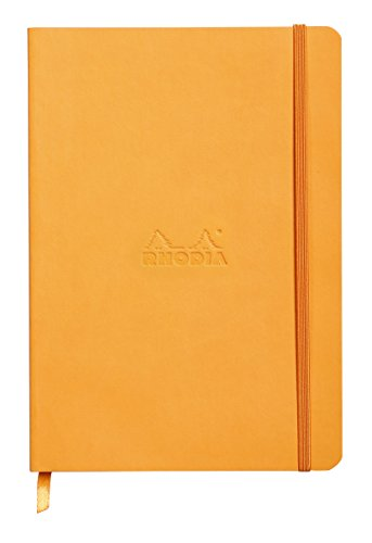 Rhodiarama Rodia Leather Softcover A5 Orange Notebook - Dotted Pages - 5.8 x 8.3 Inches