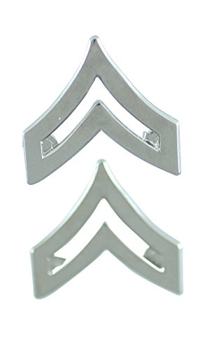 Rank Pin (Police Fire EMS Army Collar Brass Pins Insignia Emblem Badges (Assorted Styles) (Corporal - Silver))