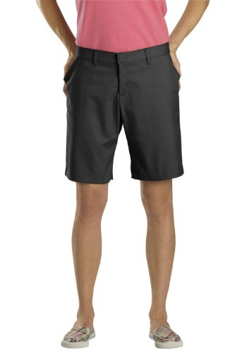 Dickies Women's Relaxed Fit Flat Front Shorts, Dow Charcoal, 14 ()
