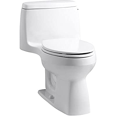 Kohler K-3810-RA-0 Santa Rosa 1.28 GPF Compact Elongated One-Piece Comfort Height Toilet - with AquaPiston Technology