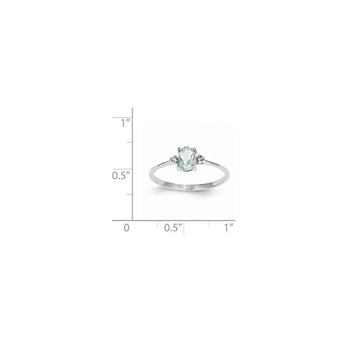 ICE CARATS 14k White Gold Diamond Blue Aquamarine Birthstone Band Ring Size 6.00 March Oval Style Fine Jewelry Gift Set For Women Heart by ICE CARATS (Image #5)