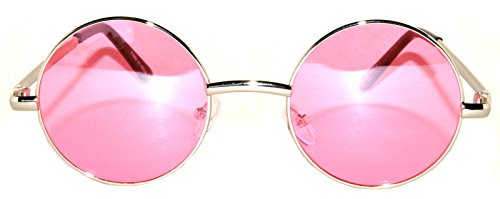 Round Pink Lens Sunglasses Silver Metal - Lennon John Pink Glasses