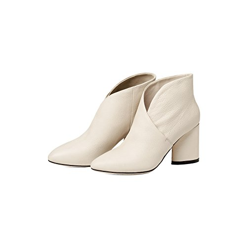 Thick Pointed Milky Heels And Boots Simple Boots white Solid Rough Heels Pq1aAA