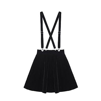 packitcute Women Harajuku Style High Waist Velvet Suspender Mini Skirt Black