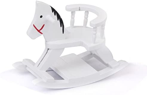 ULTNICE 1:12 Wooden Miniature Doll Rocking Horse for Furniture Decoration White