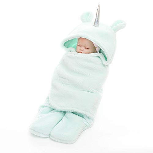 Baby Hooded Pajamas Unicorn/Monthly Milestone Blanket|Swaddle Sleeping Bag/Sack|Velcro Pink Mint Grey|Premium Quality Sherpa Fleece for Newborn Infant Toddler 0-12 Months|Perfect for Baby Shower Gift by Paradise Original