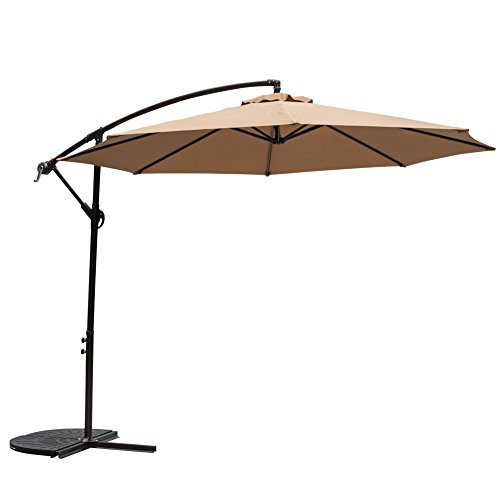Outdoor Aluminum Base - TOUCAN OUTDOOR 10 Feet Aluminum Offset Patio Umbrella, 8 Steel Ribs, Cross Base and Crank, Tan